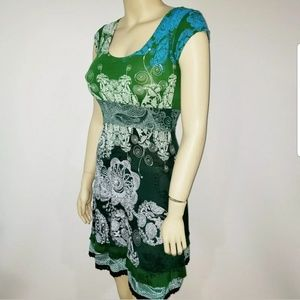 Desigual Green Paisley Dress XS